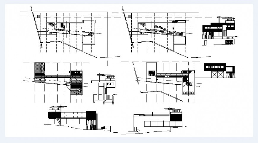 Two story bungalow elevation, section and floor plan drawing details dwg file