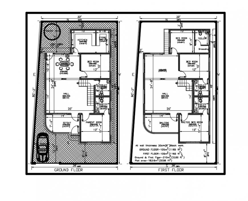 Two story bungalow ground and first floor plan layout details dwg file