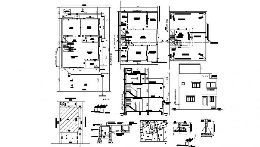 Two story bungalow main elevation, section, floor plan and structure details dwg file