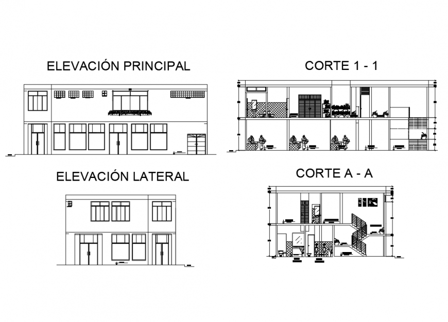 Two story corporate office building front and back elevation and sectional details dwg file