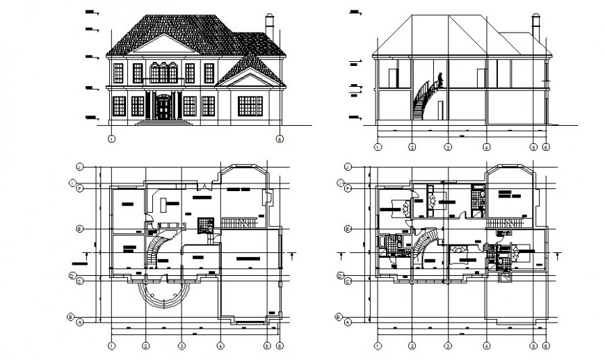 Two story elevation and floor plan of the house in autocad software