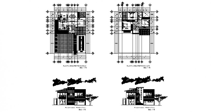 Two story four bedroom house elevation and floor plan cad drawing details dwg file