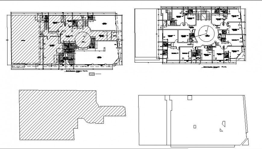 Two story hotel building floor plan cad drawing details dwg file