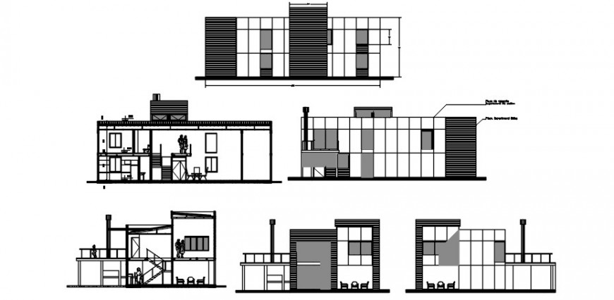 Two story house all sided elevation and section cad drawing details dwg file