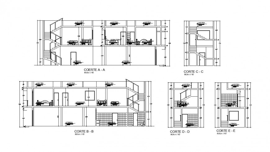 Two story house all sided section cad drawing details dwg file