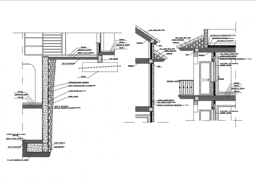 Two story house architectural section with abutment wall dwg file