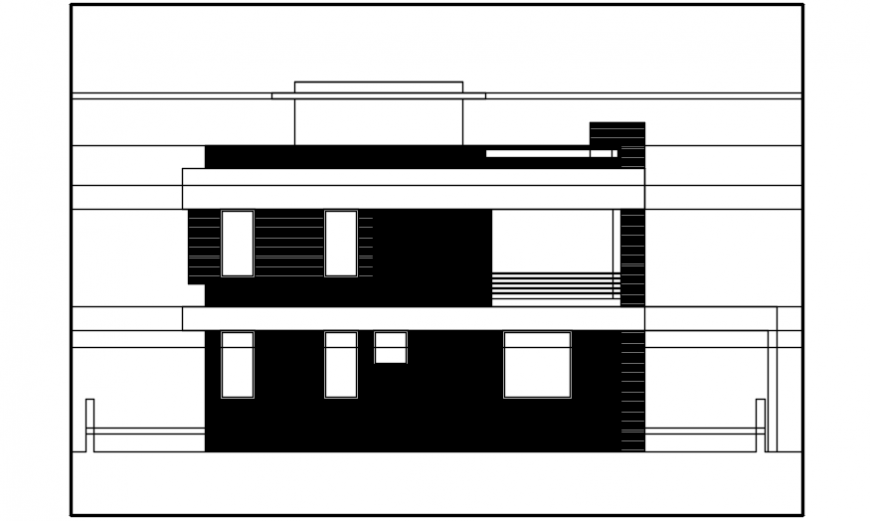 Two story house back side elevation auto-cad drawing details dwg file