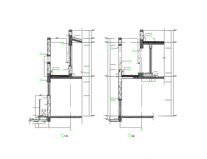 Two story house building front constructive section cad drawing details dwg file