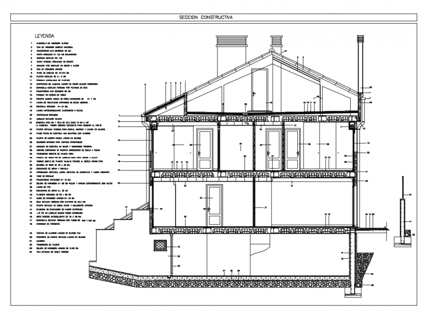 Two story house building with basement section-constructive details dwg file