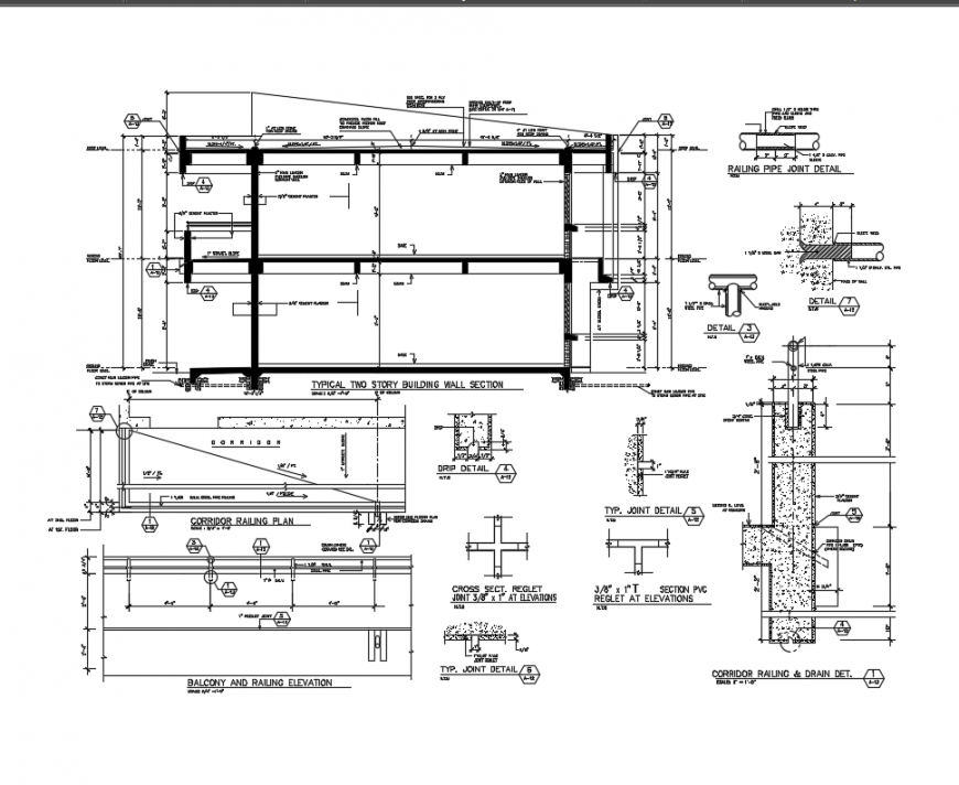 Two story house concrete structure and section-constructive details dwg file