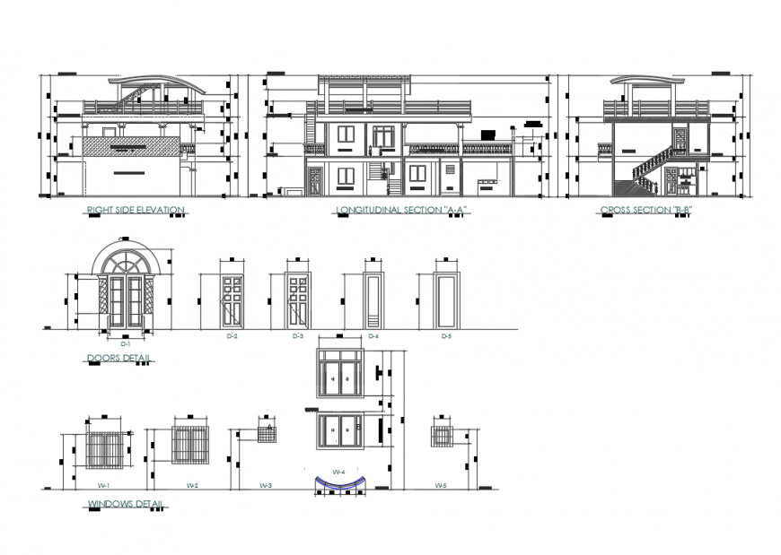 Two story house elevations, sections, doors and windows details dwg file