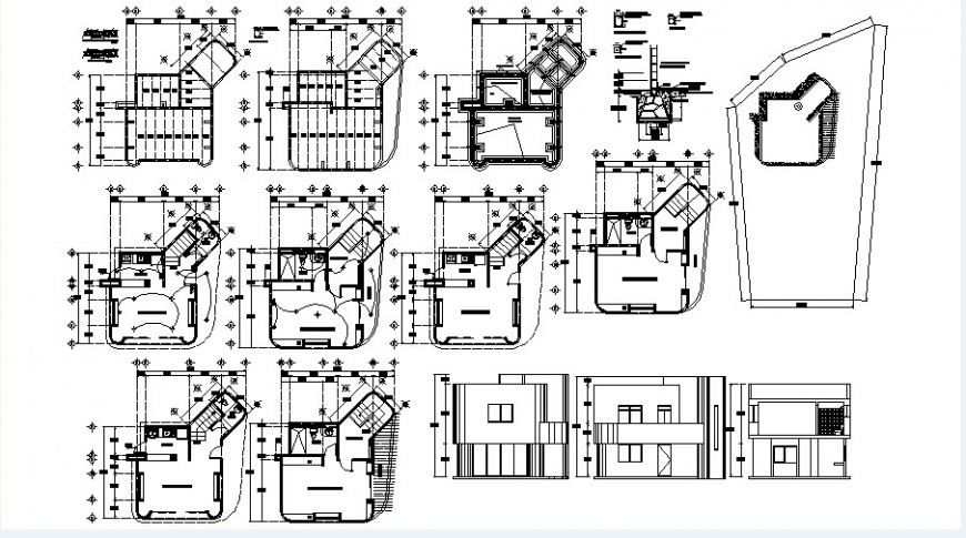 Two story house elevations, sections, plan and constructive structure details dwg file
