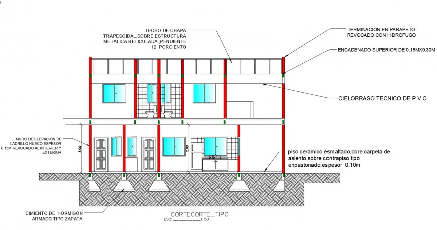 Two story house facade constructive section cad drawing details dwg file