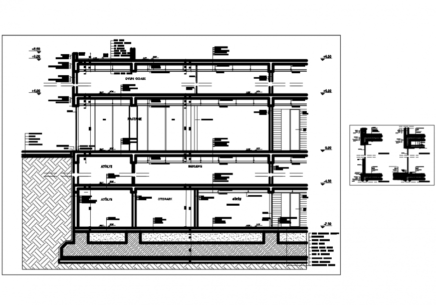 Two story house facade section-constructive details with footings dwg file