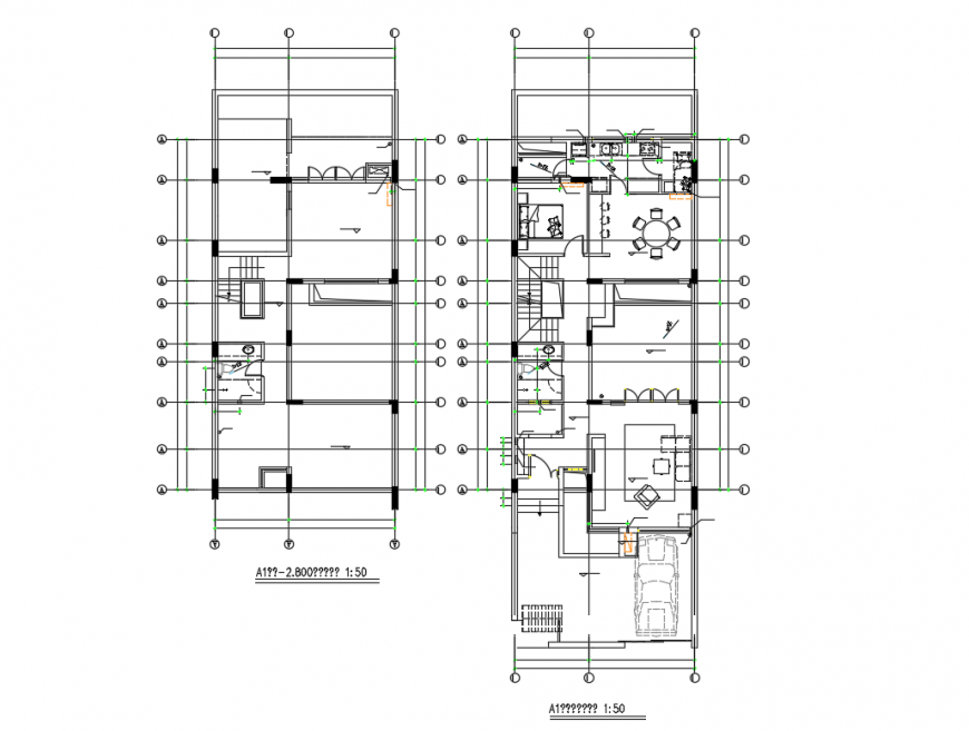Two story house floor plan cad drawing details dwg file