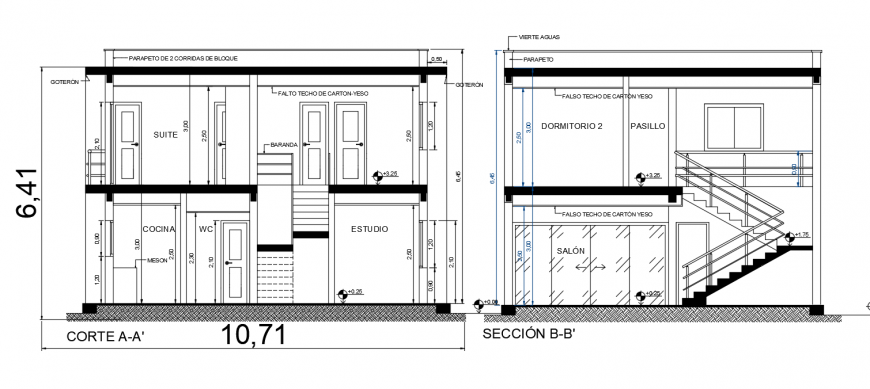 Two story house front and back section cad drawing details dwg file