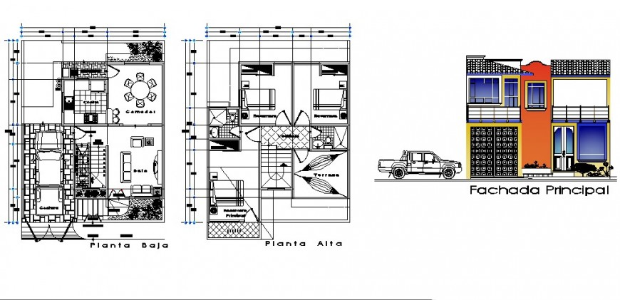 Two story house main elevation and floor plan cad drawing details dwg file