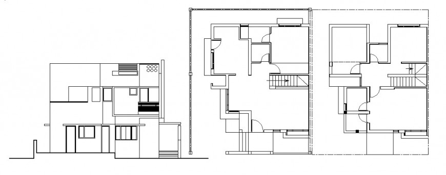 Two story house main elevation and framing plan cad drawing details dwg file