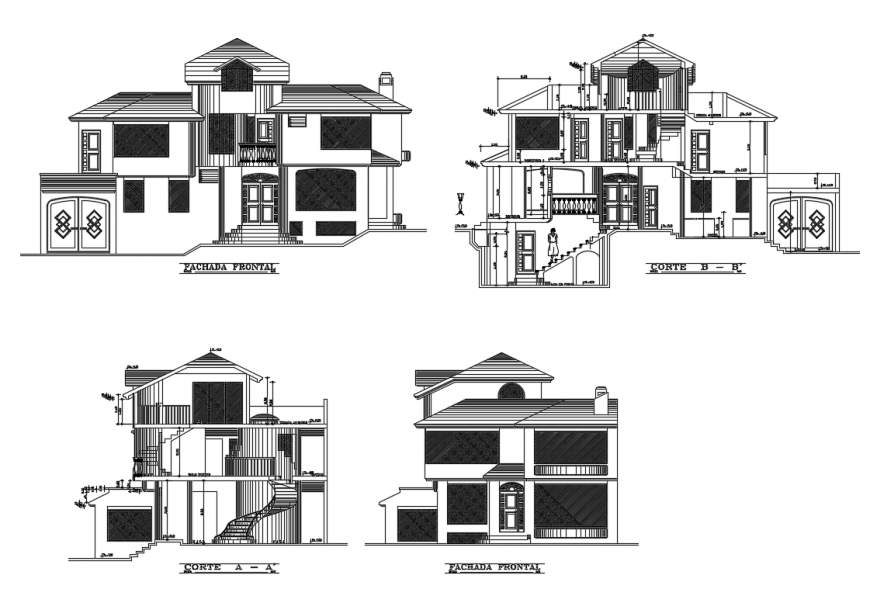 Two story house with basement elevation and sections cad drawing details dwg file