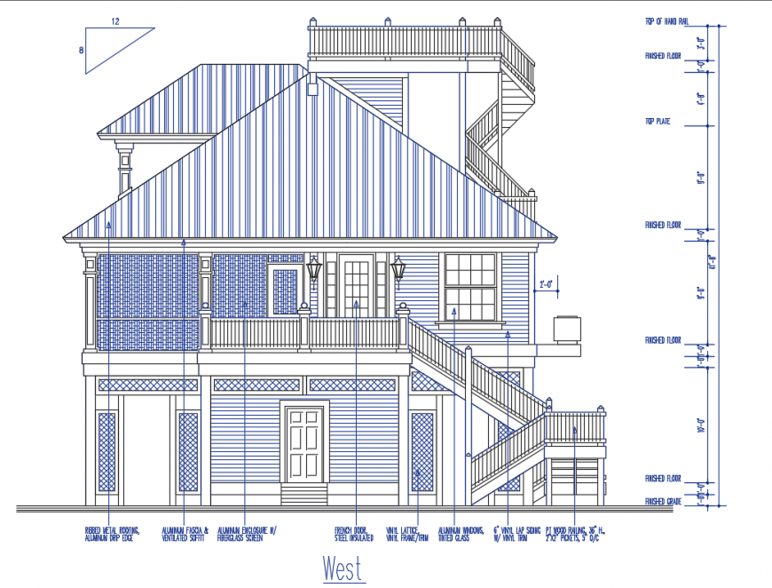 Two story house with roof facade elevation cad drawing details dwg file