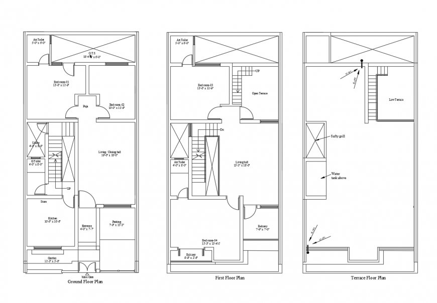 Two story housing structure layout plan autocad file