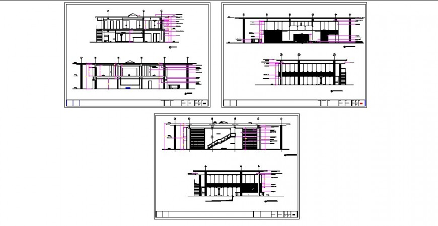 Two story luxuries villa all sided elevation and section cad drawing details dwg file