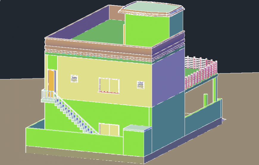 Two story modern 3d house elevation model cad drawing details dwg file