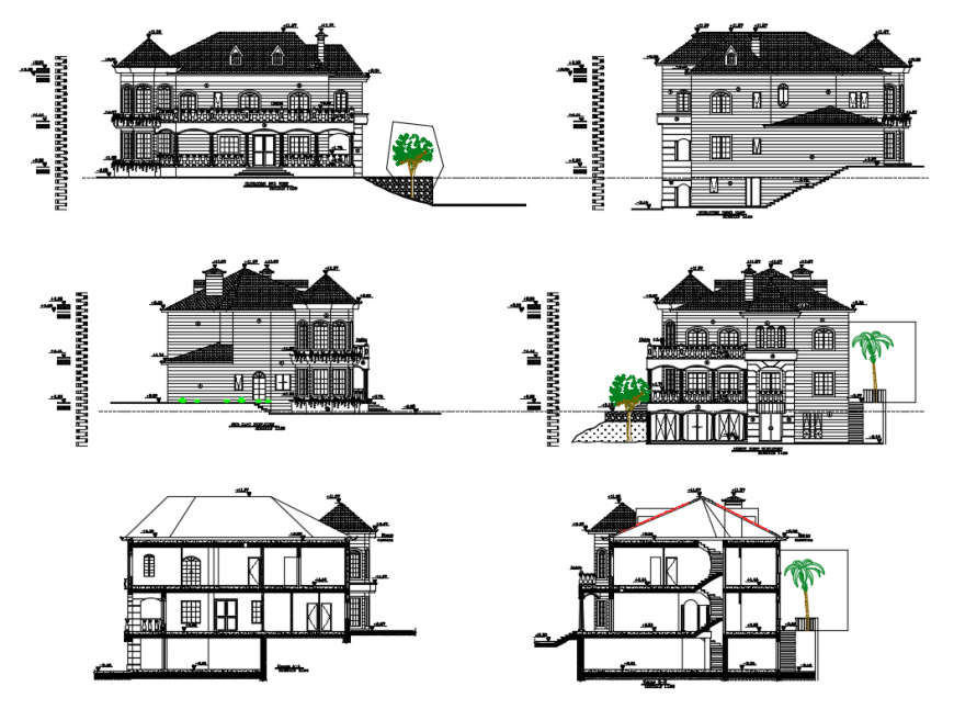 Two story modern villa facade and back elevation and section cad drawing details dwg file