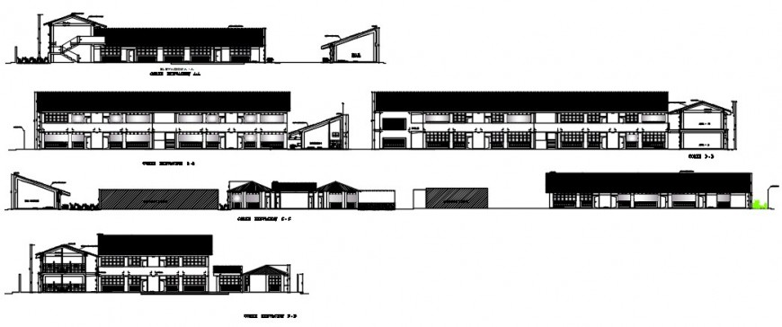 Two story primary school elevations and section drawing details dwg file