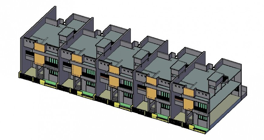 Two story residential apartment 3d model drawings autocad file