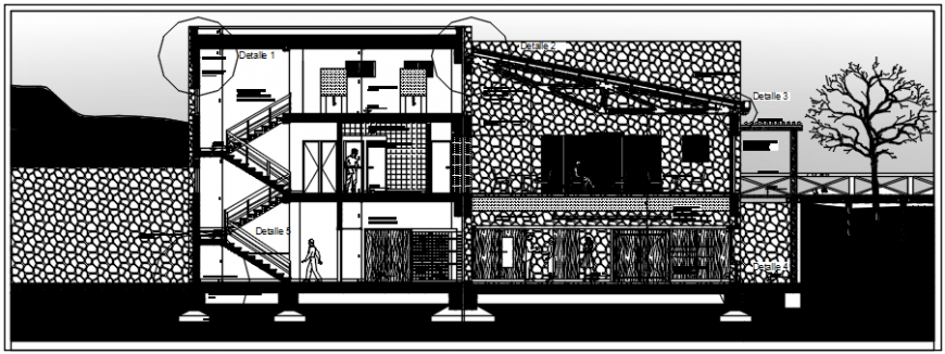 Two story restaurant front constructive section drawing details dwg file
