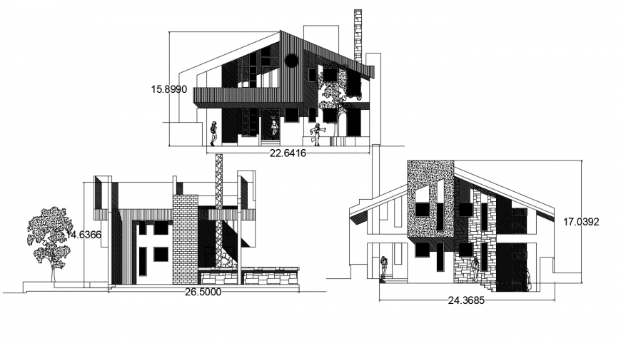 Two story roof house three sided elevation drawing details dwg file
