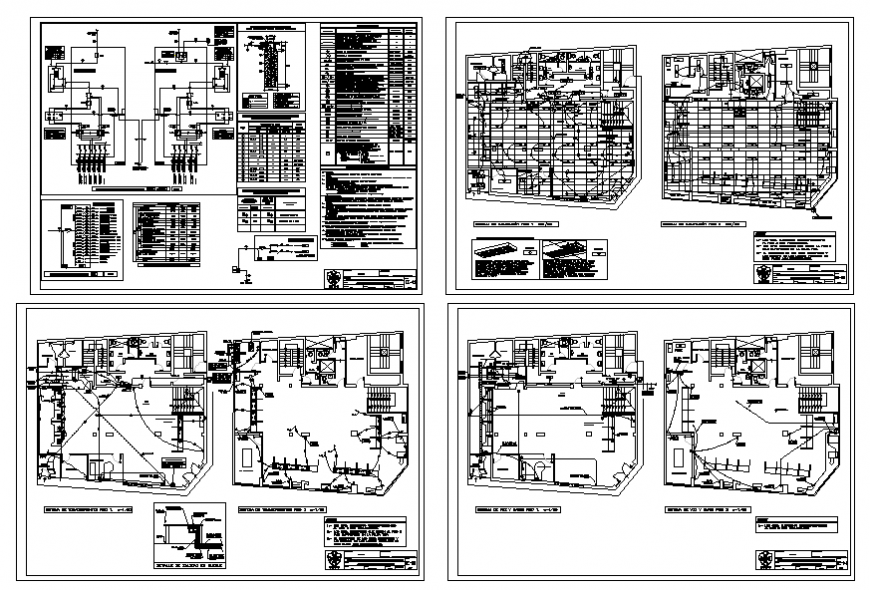 Two story villa layout plan, electrical layout plan and constructive structure details dwg file