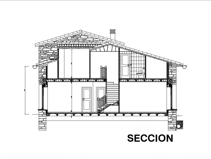 Two story wooden house front sectional view dwg file