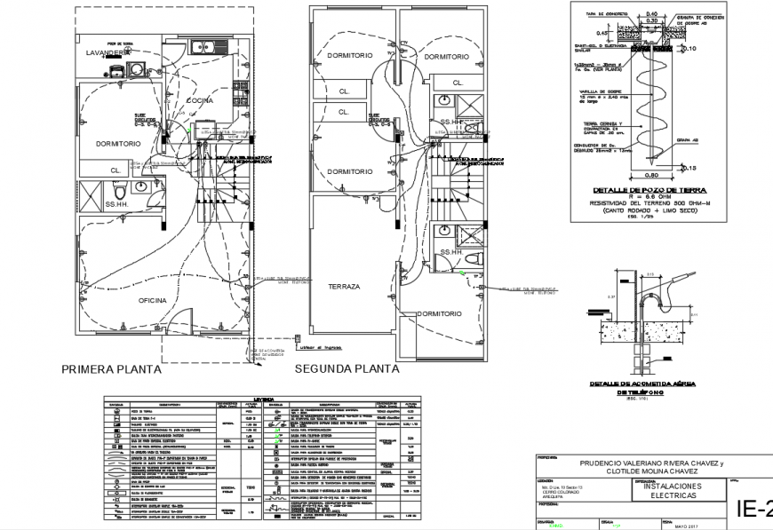 Two way electric layout plan detailing dwg file