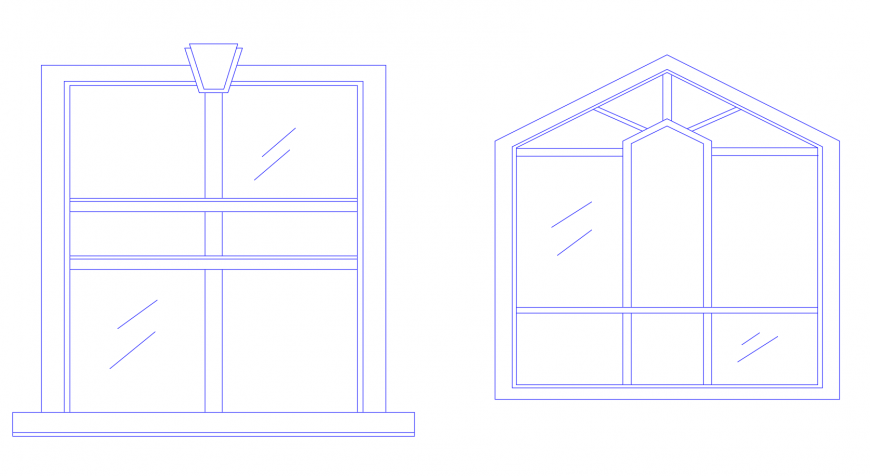 Two window elevation block auto-cad drawing details dwg file