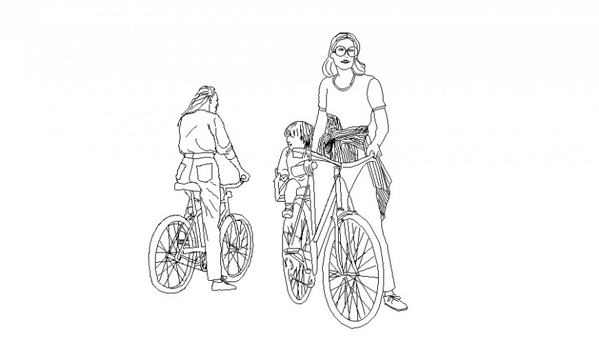 Two women with child and bicycle elevation block cad drawing details dwg file