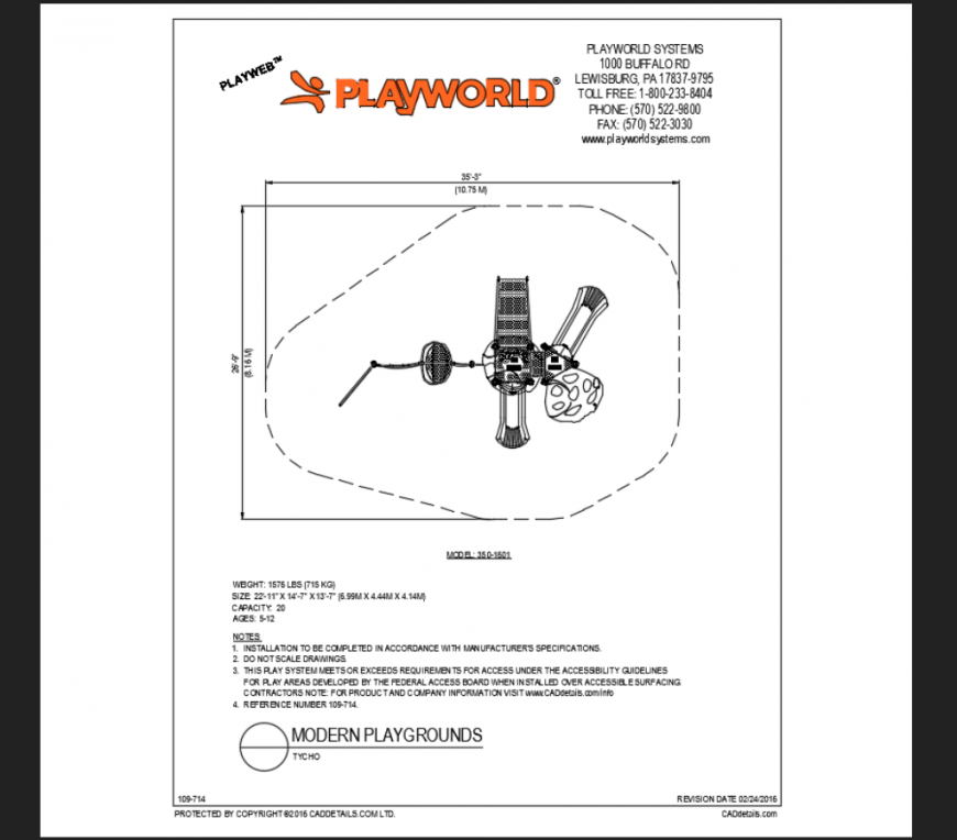 Tycho modern play ground themed park play structure details dwg file