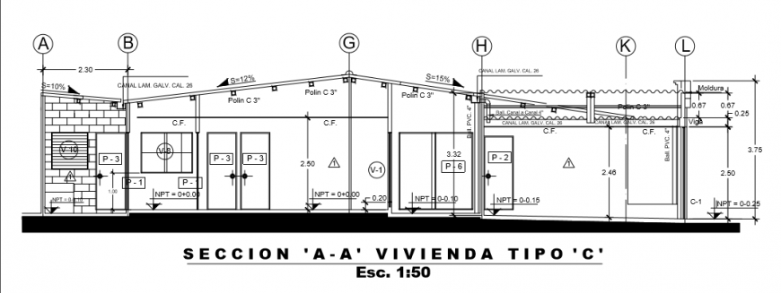 Type- A section layout design drawing of Villa design