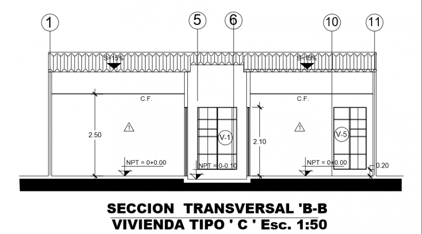 Type- B section layout design drawing of Villa design