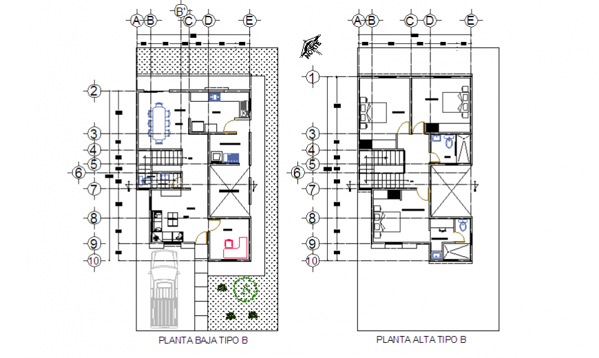 Type - B Small architectural house design drawing project