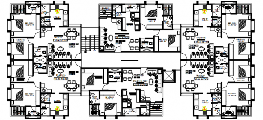 Typical floor plan layout drawing details of apartment building dwg file