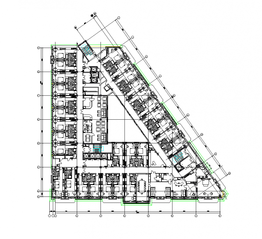 Typical floor plan of hotel design with part of architecture dwg file