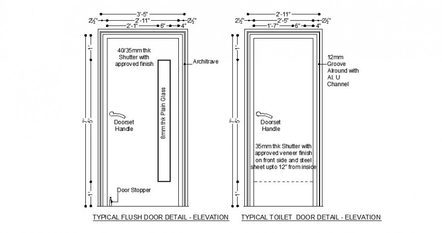 Typical flush and toilet door elevation cad block details dwg file