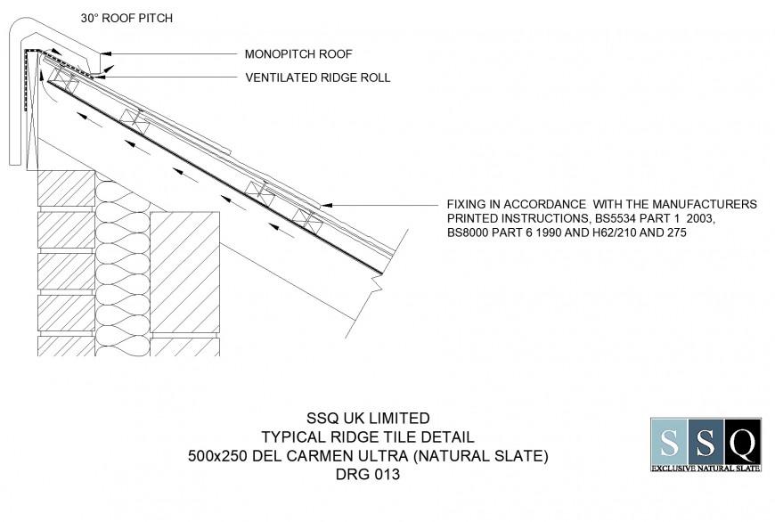 Typical ridge tile detail dwg file