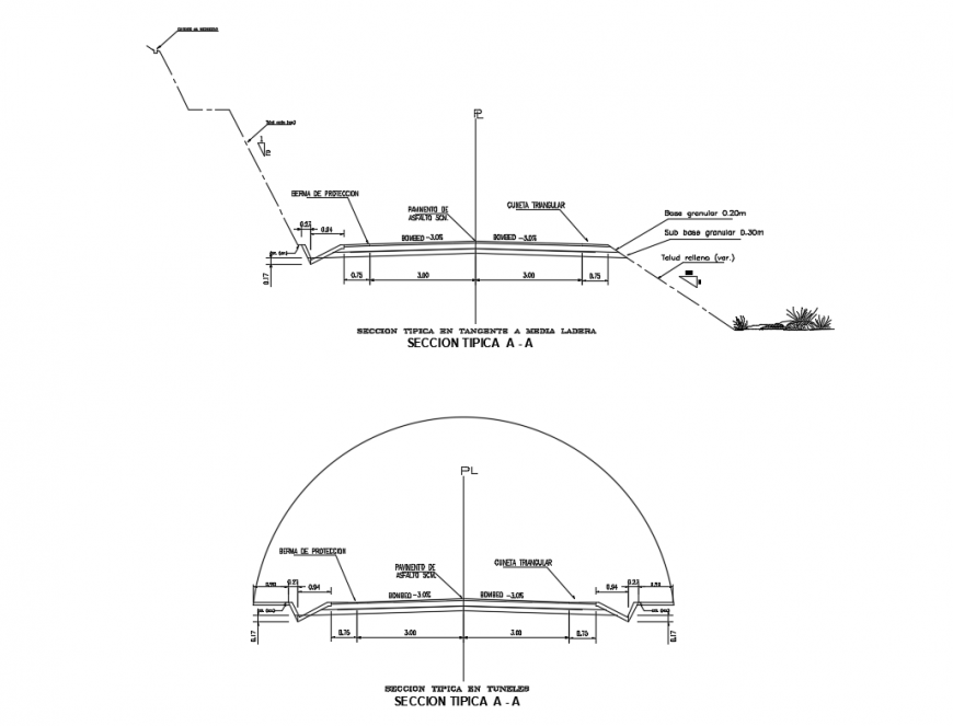 Typical section details of garden tunnel and media ladera dwg file