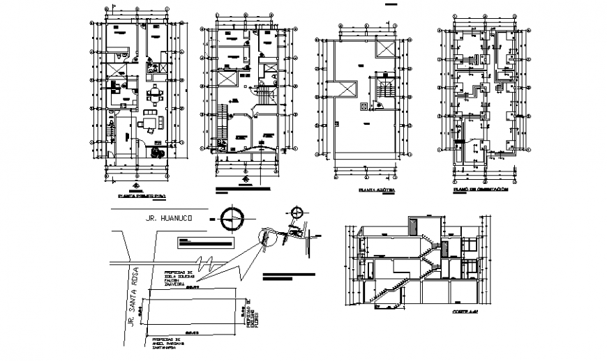 Typical single house section, first, second and top floor plan and auto-cad details dwg file