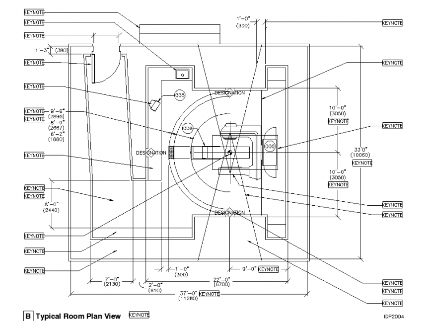 Typical top view plan of the CT scan room in dwg AutoCAD file.