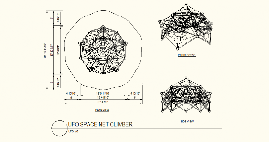 Ufo space net climber detail plan and perspective view dwg file