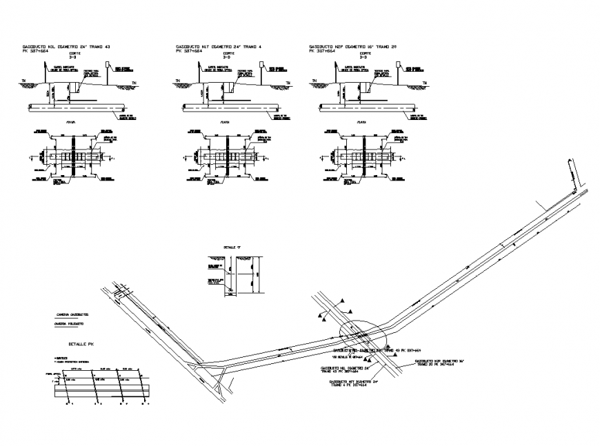 Un-ground sanitary pipe system detail elevation 2d view layout file